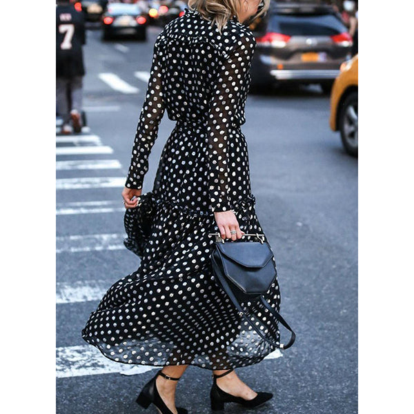 Polka Dot Long Sleeves A-line Maxi Vacation Dresses