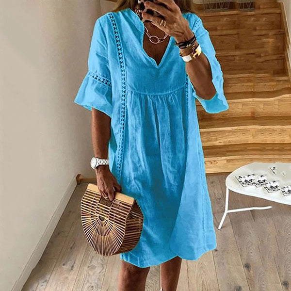 Ruffle Sleeve V Neck Solid Color Women Dress