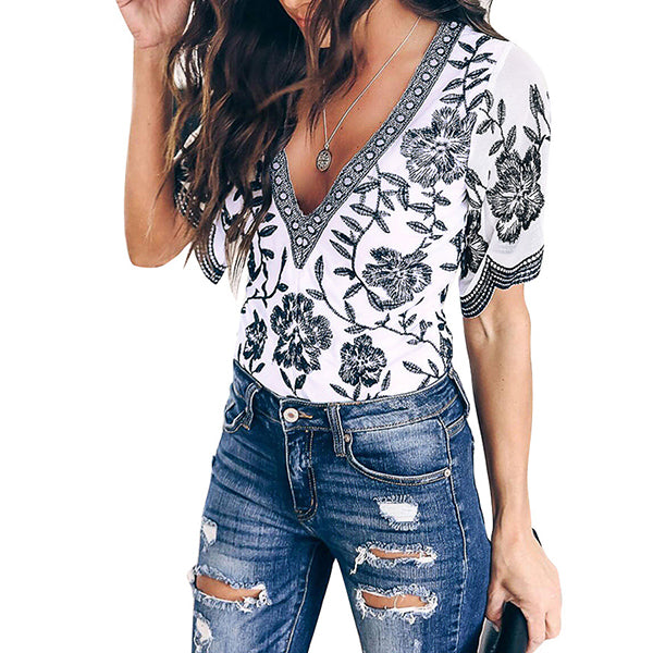 Daily Bohemian V Neck Printed Blouse