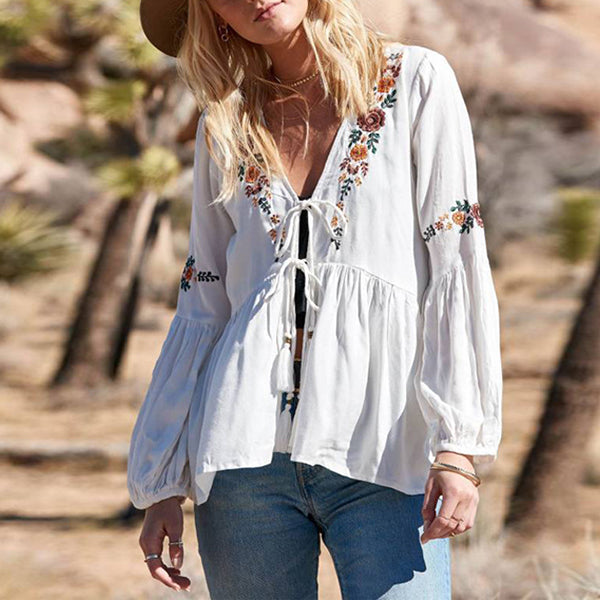 Bohemian V Neck Lace-Up Blouse