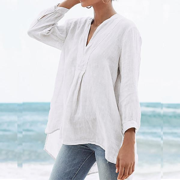 Casual V-Neck Long Sleeve Solid Women's  Blouse