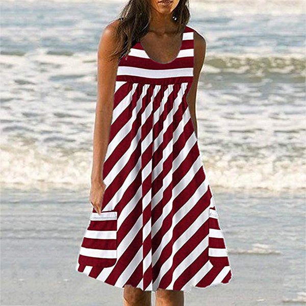 Round Neck Striped Pockets Summer Mini Dresses