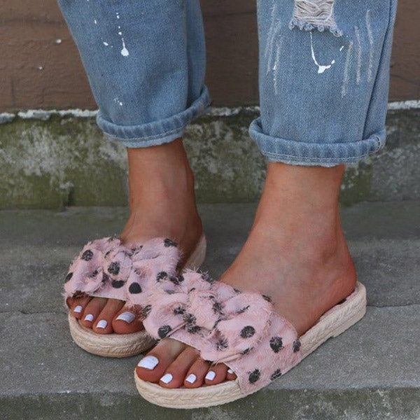 Casual Bow Polka Dot Slippers