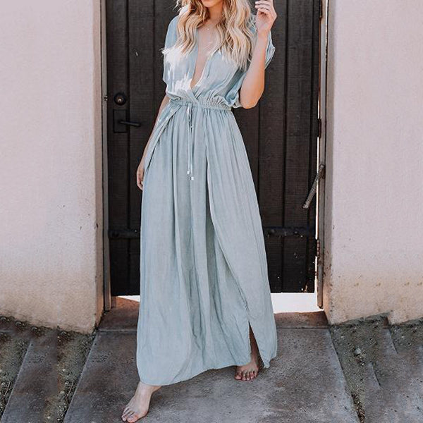Vacation V Neck Front Split Dress