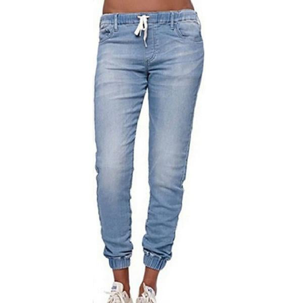 Women Fashion Pure Color Loose Leisure Lace-up Jeans