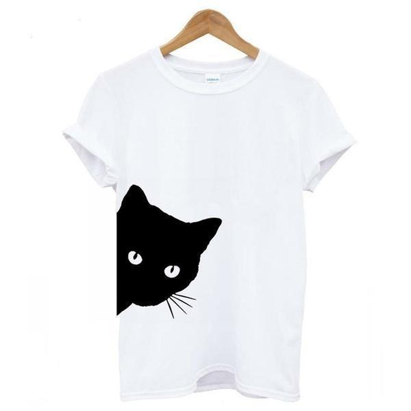 Cat Looking Outside Print Women Tshirt Cotton Casual Funny T Shirt for Lady Girl Top