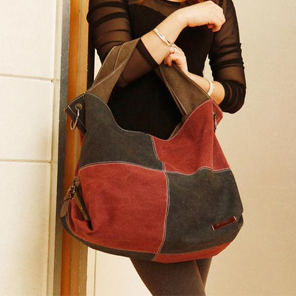 New Lady Canvas Patchwork Handbag Hit Color Shoulder Bag