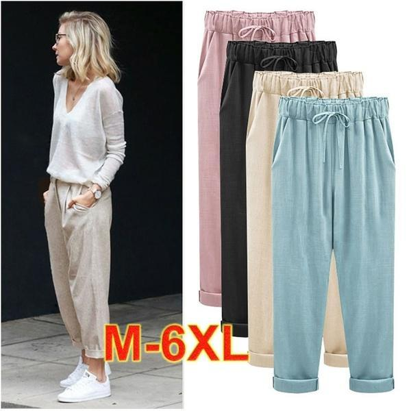 Women's Plus Size Cotton Cropped Pants