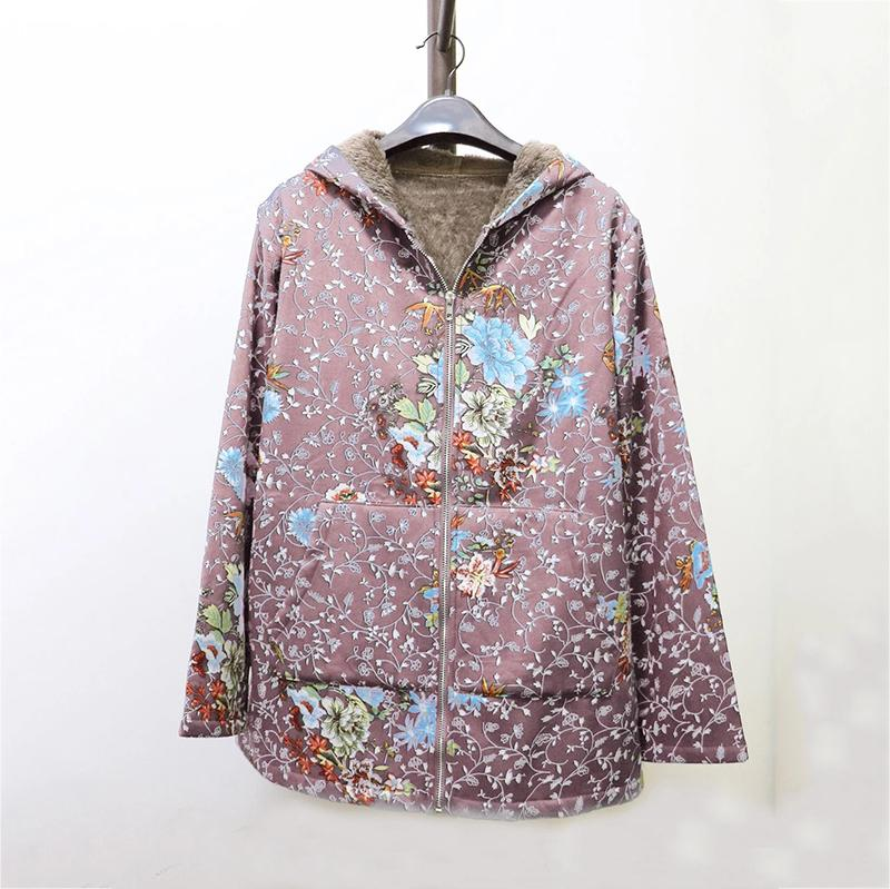 Women's Floral Hooded Plush Jacket