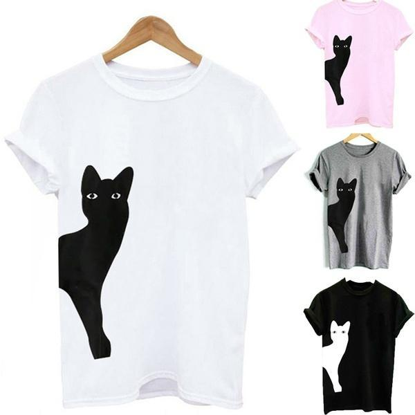 Women Casual Cat Print Cotton T-Shirt