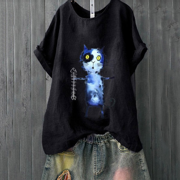 Daily Casual Cat Printed Solid Color Blouse
