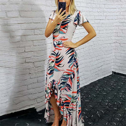 Elegant Printed Irregular Hem Dress