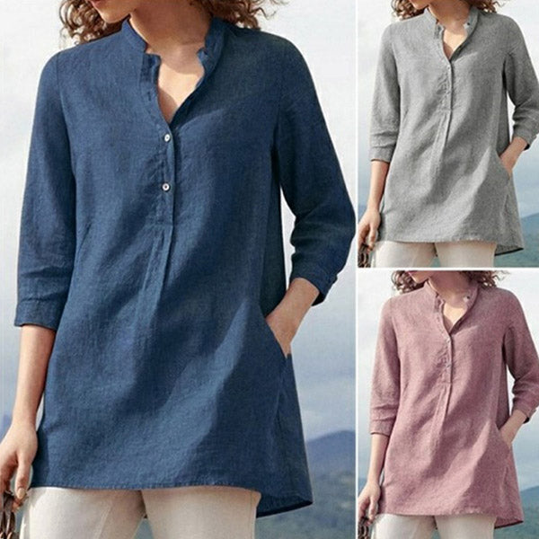 Casual Loose Women Solid Color Blouse