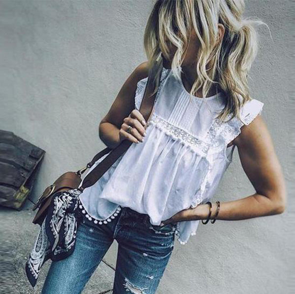 Lace Hollow Solid Color Blouse