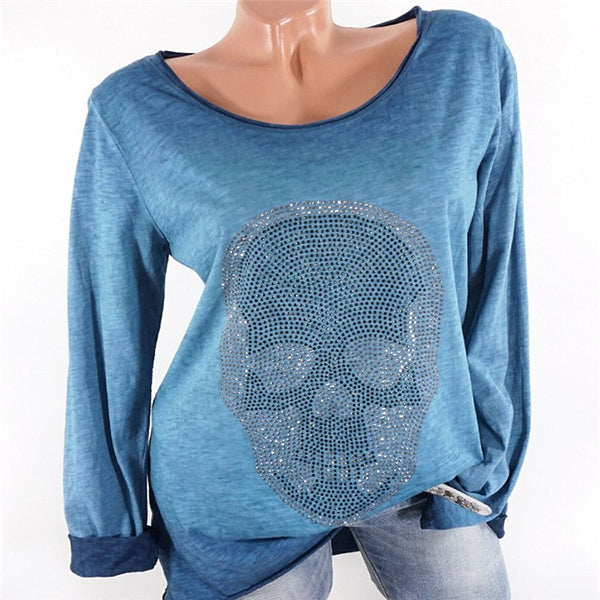 Round Neck Printed Long Sleeve Loose Blouses