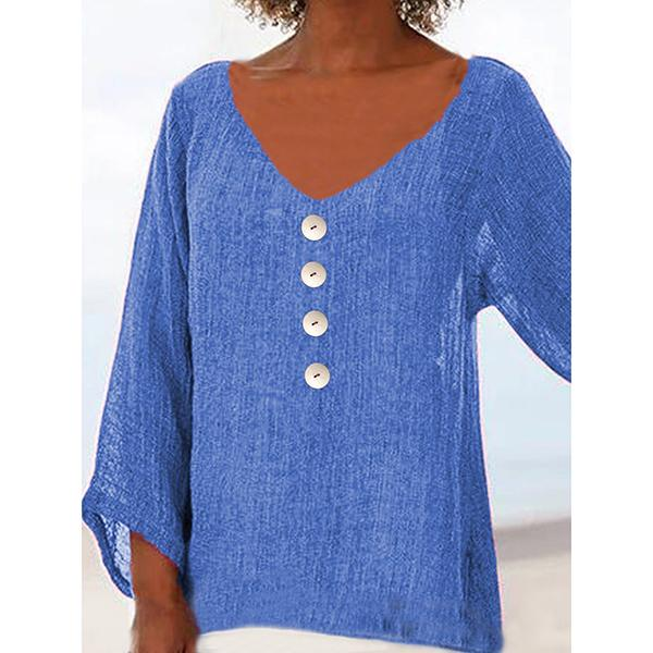 Solid Color Buttoned V Neck Blouses
