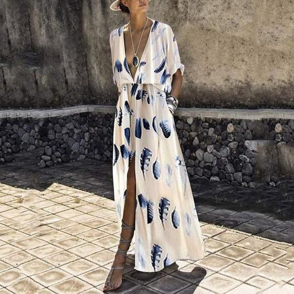 Sexy V-Neck Fashion Split Short Sleeves Floral Print Maxi Dress