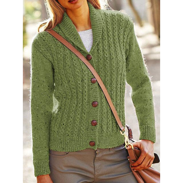 Solid Knit Caridgan Plus Size Sweater