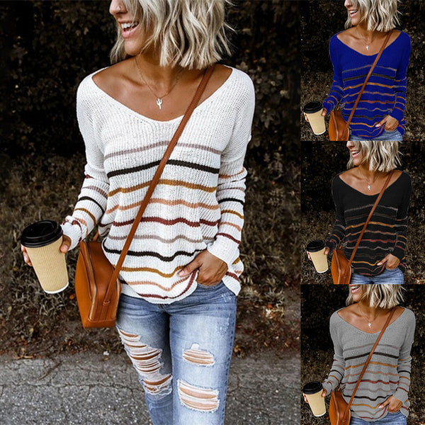 Women's Striped Long Sleeve Plain Sweaters