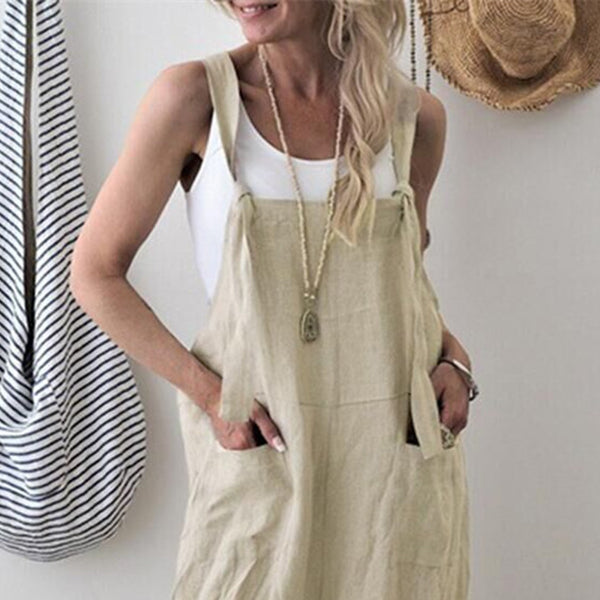 Daily Casual Solid Color Pocket Jumpsuits