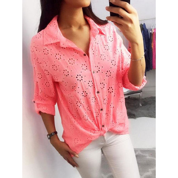 Hollowed-out Long Sleeve Women Shirts