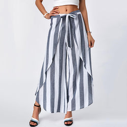 Stripe Lace-Up Irregular Pants