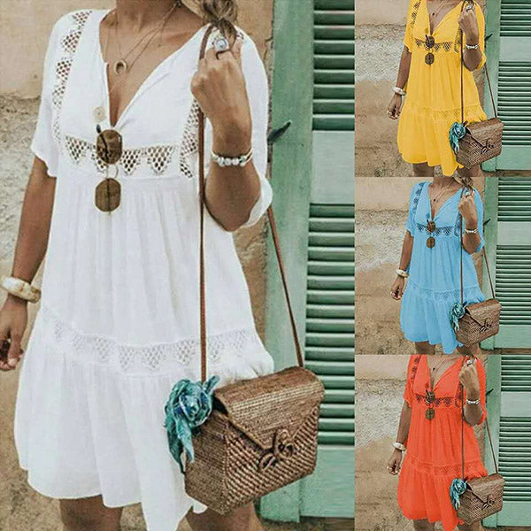 Fashion Women V Neck Summer Dress
