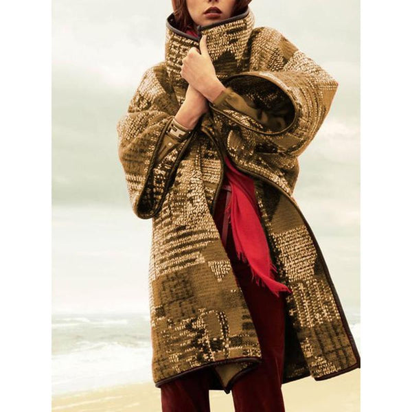 Long Sleeve Vintage Women Coat