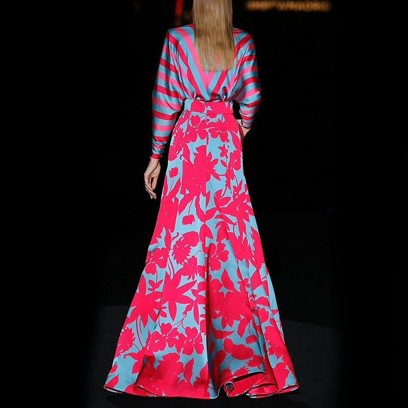 Women Fashion Stripe Paneled Floral Maxi Dress
