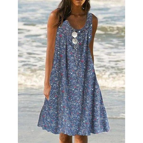 Printed Round Neck Loose Dresses
