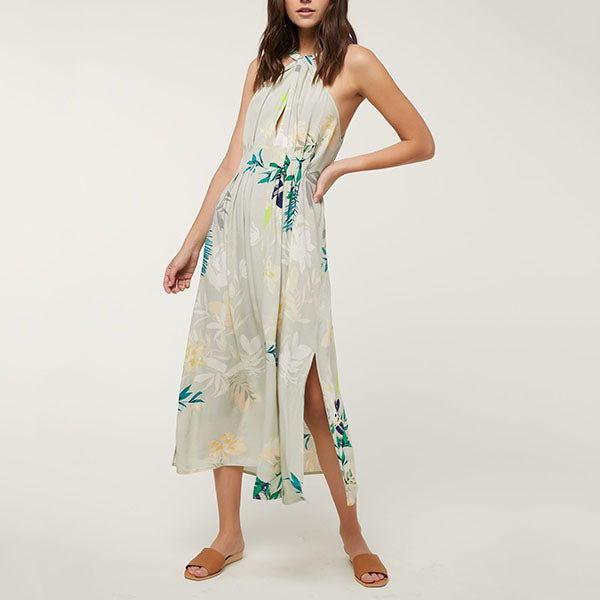 Elegant Halter Neck Printed Dress