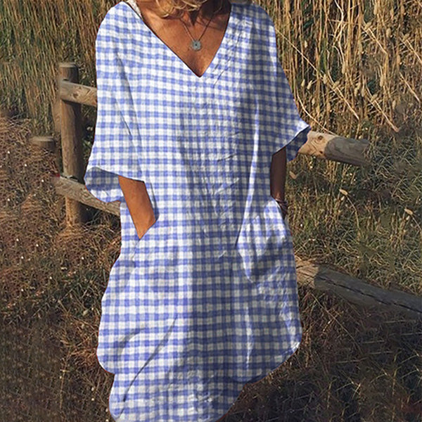 Grid Half Sleeve Vacation Dresses
