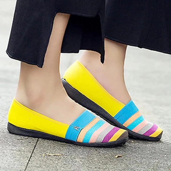 Round Toe Color Block Daily Loafers Flat