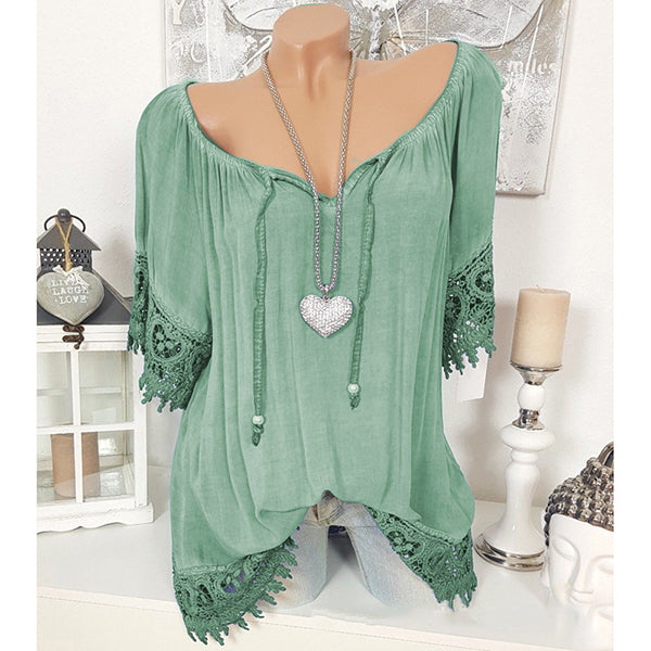 Loose V-Neck Summer Casual Blouses