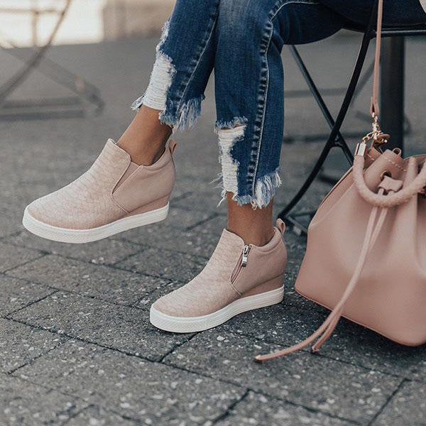 Casual Low Heel Zipper Sneakers
