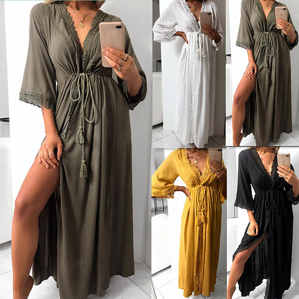 Casual V Neck Solid Color Women Dress