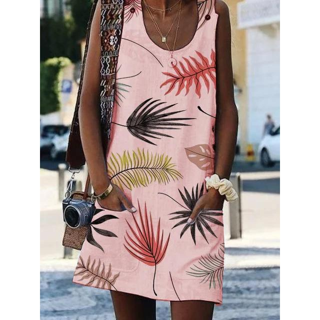 Bohemian Printed Drawstring Sleeveless Plus Size Dresses