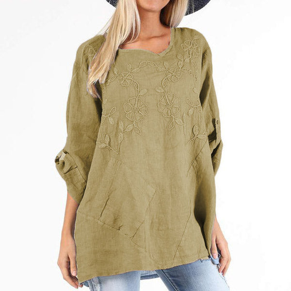 Embroidery Solid Color Loose Blouse