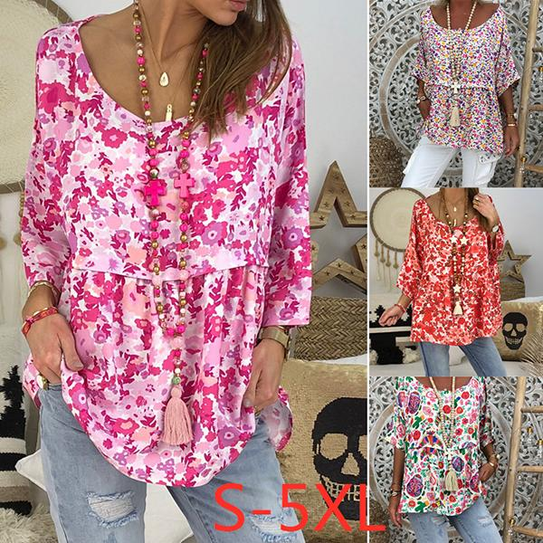 Plus Size Flower Printed Women Blouse