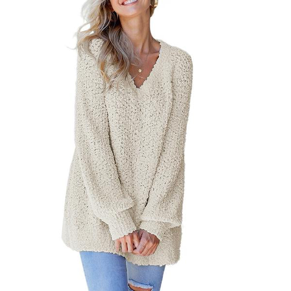 Women's V-neck Pullover Loose Long-sleeved Sweater