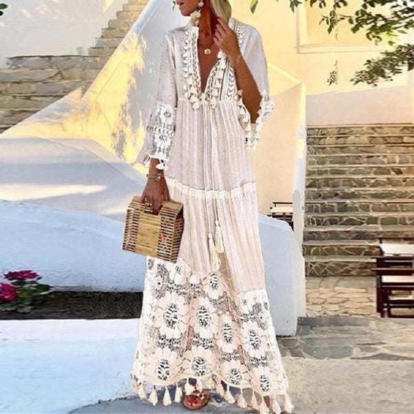Women Summer Casual V-neck Long-Sleeved Bohemian Lace-fringed Stitching Dress