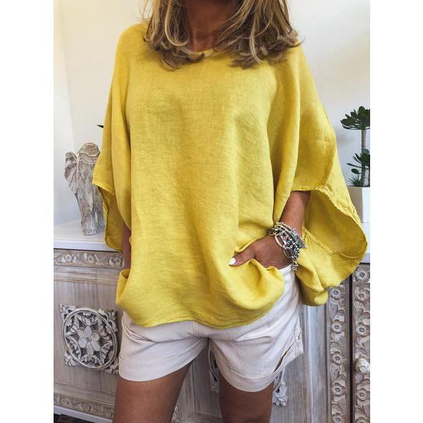 V-neck Solid Color Loose Women's Blouses