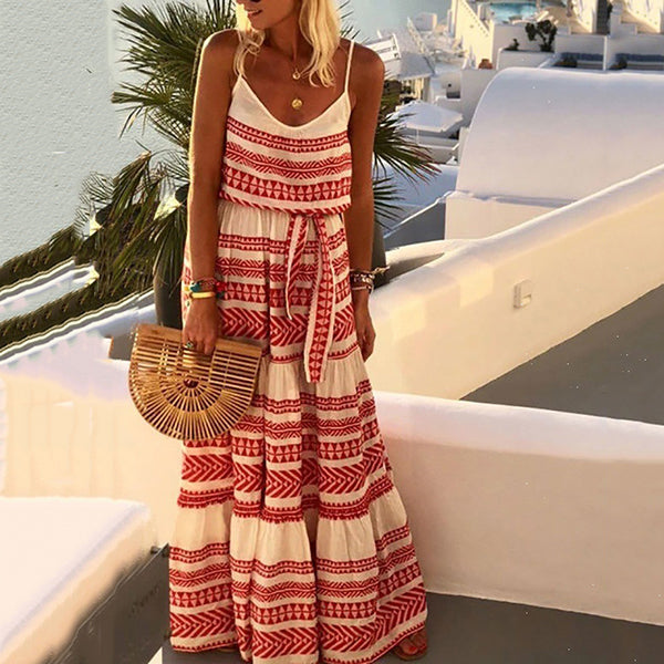 Bohemian Printed Sleeveless Maxi Dress