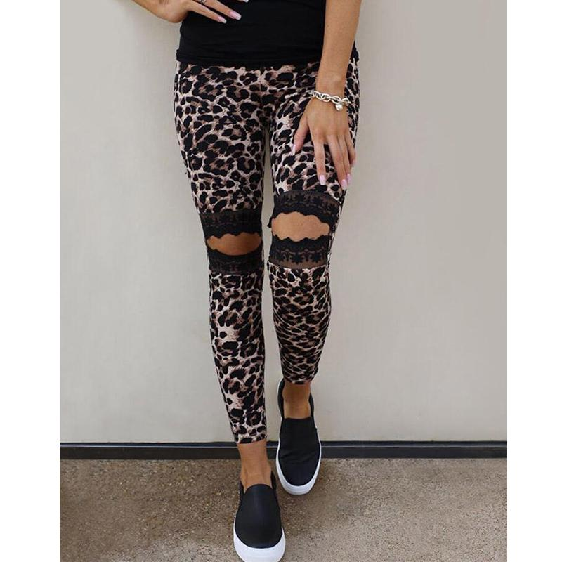 Women Fashion Hollow Out Leopard Floral Printed Skinny Pants