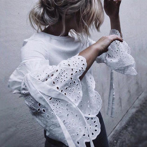 Chic Ruffle Sleeve Casual Blouse