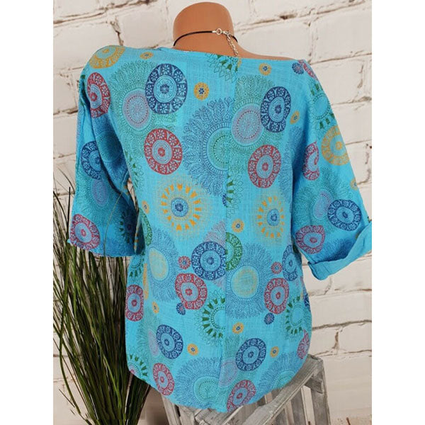 Plus Size Casual Printed Blouse