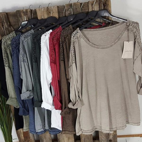 Casual  3/4 Sleeve Solid Color Blouses