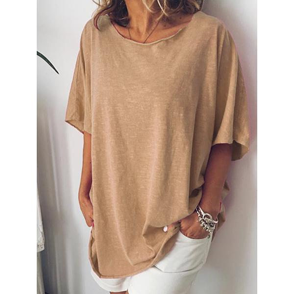 Plus Size Round Neck Solid Color Blouse