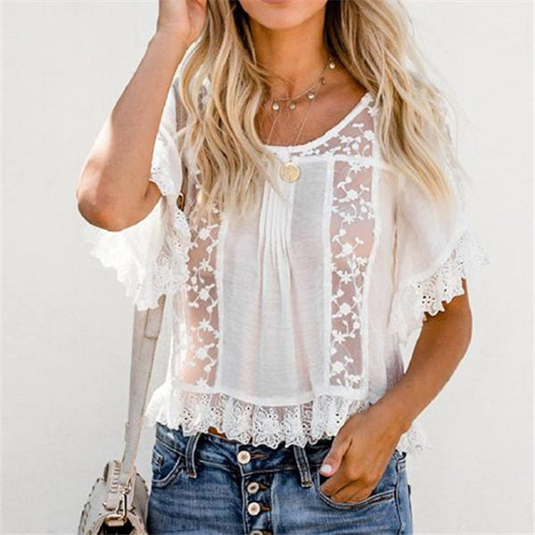 Lace Hollow Ruffle Sleeve Blouse