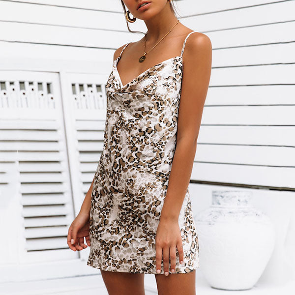 Sleeveless Printed V Neck Dress